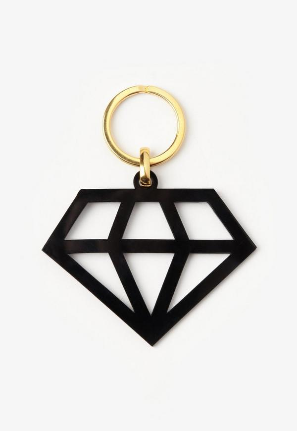 Black Diamond Shaped Key Ring