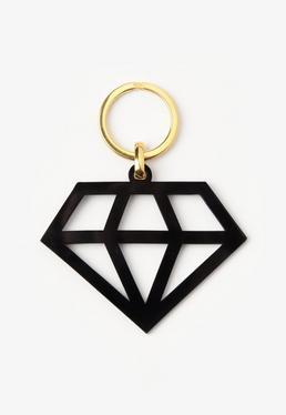Porte-clef noir en forme de diamant