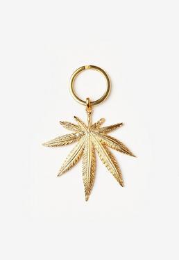 Breloczek do kluczy w kształcie liścia w kolorze złota