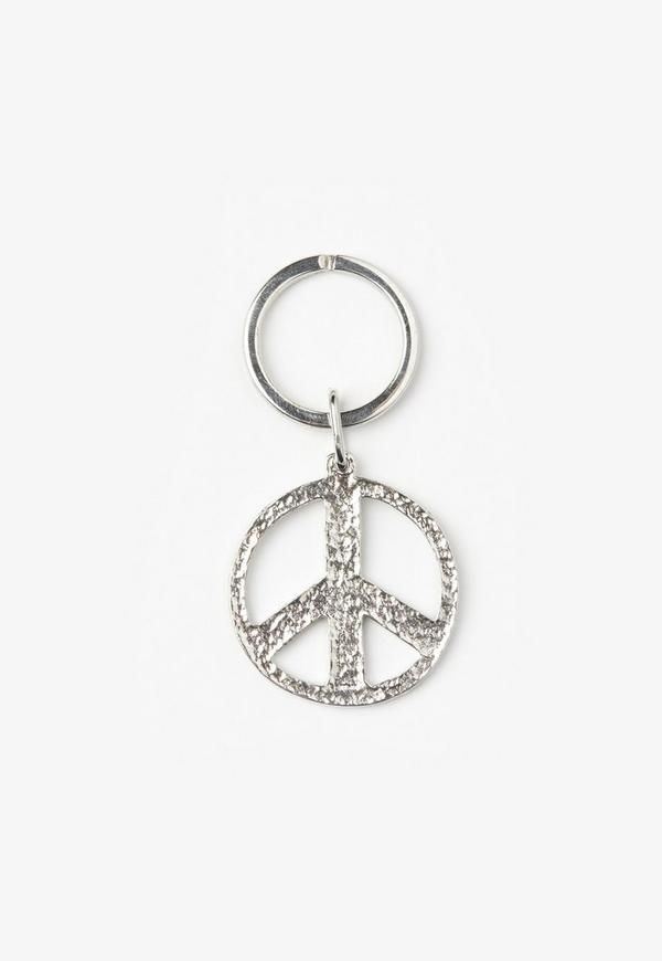 Silver Peace Sign Key Ring
