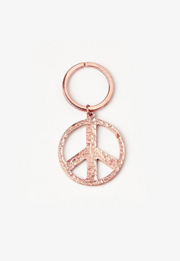 Rose Gold Peace Sign Key Ring