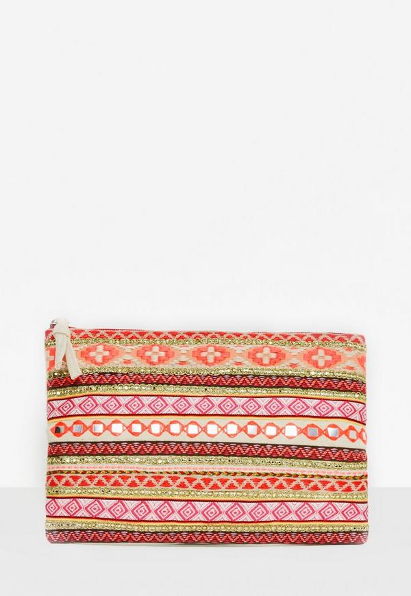 Pink Multi Embroidered Zip Clutch