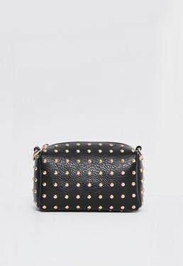 Schwarze Mini Handtasche mit goldener Nietenverzierung