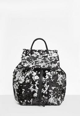 Czarny cekinowy plecak