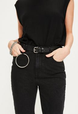 Black Circle Trim Buckle Belt