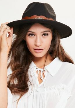Black Western Stud Fedora Hat