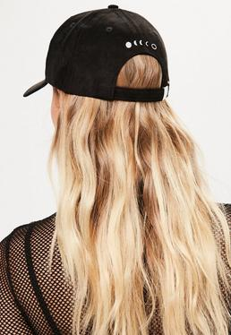 Black Moon Cycle Faux Suede Cap