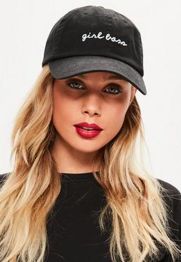 Czarna jeansowa czapka z daszkiem Girl Boss