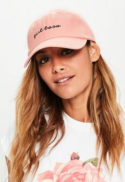 Casquette rose en denim inscription Girl boss