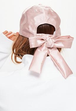 Pink Satin Bow Cap