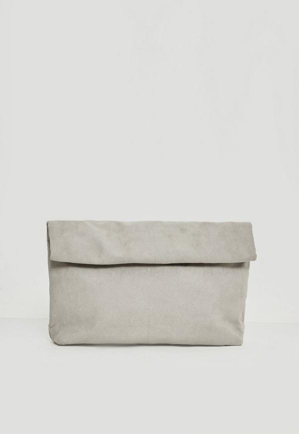 Grey Roll Top Clutch Bag