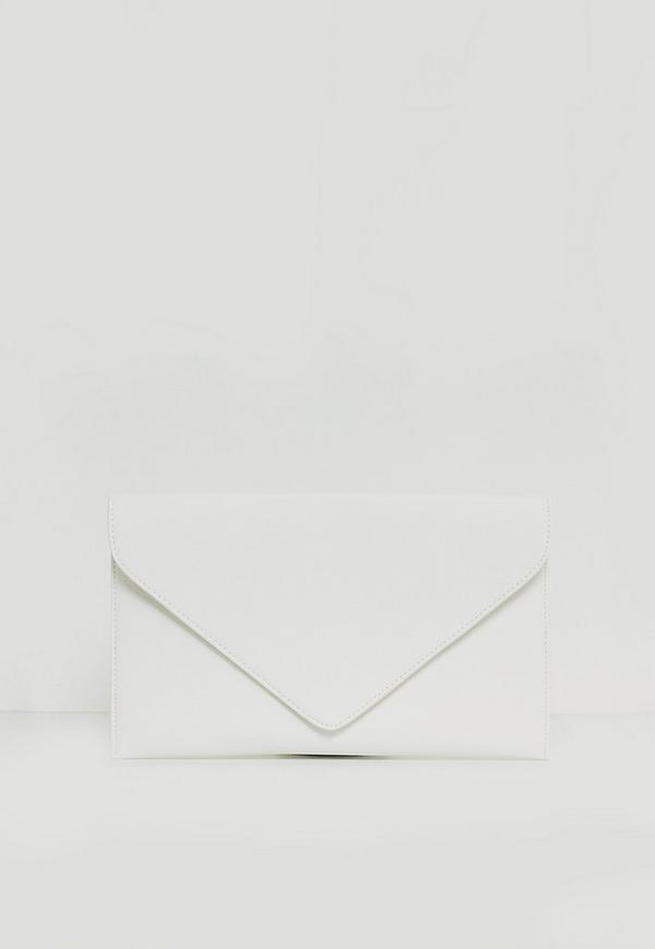 White Faux Leather Envelope Clutch Bag