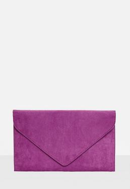 Purple Faux Suede Envelope Clutch Bag