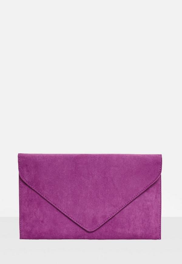 Purple Faux Suede Envelope Clutch Bag