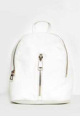 White Oversized Zip Detail Backpack