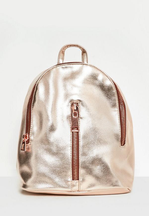 Rose Gold Oversized Zip Detail Backpack