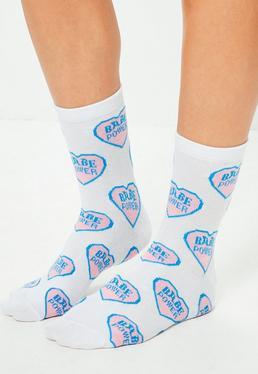 White Babe Power Ankle Socks