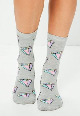 Grey Diamond Print Ankle Socks