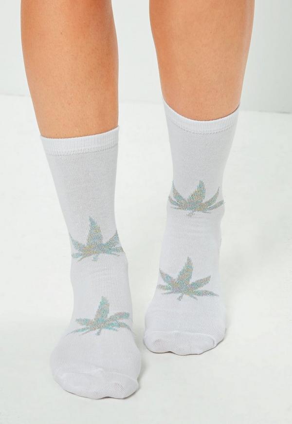 White Lurex Leaf Print Ankle Socks