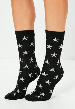 Black Lurex Star Ankle Socks