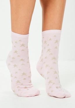 Calcetines Tobilleros con Estrellas Bordadas en Rosa