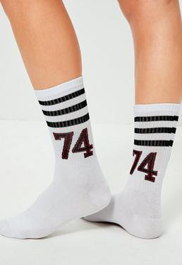White Striped Varsity Ankle Socks