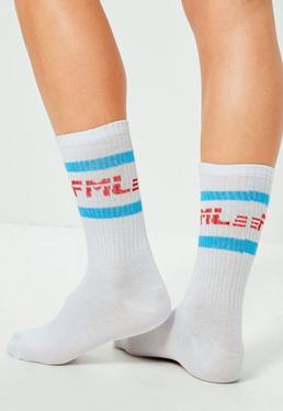 Calcetines Tobilleros con Rayas Azules y Eslogan FML en Blanco