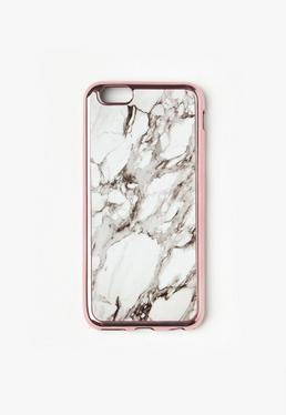 Biała marmurkowa obudowa na iPhone 6