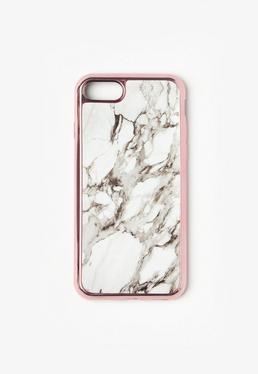 Biała marmurkowa obudowa na iPhone 7