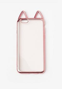 Coque pour iPhone 6 bordure rose oreilles de chat