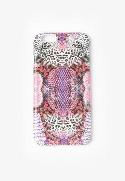 Coque pour iPhone 6 rose imprimé serpent