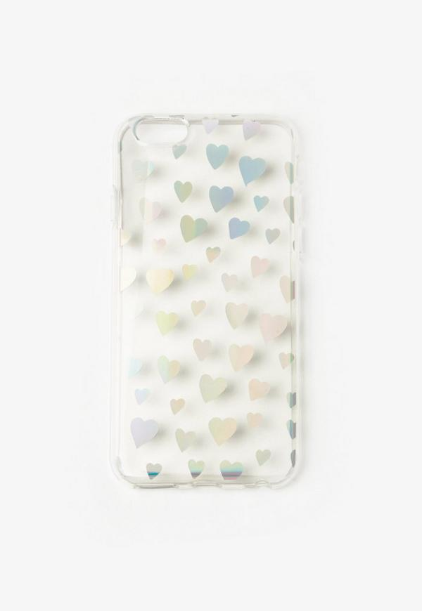 Silver Holographic Heart Print iPhone 6 Case