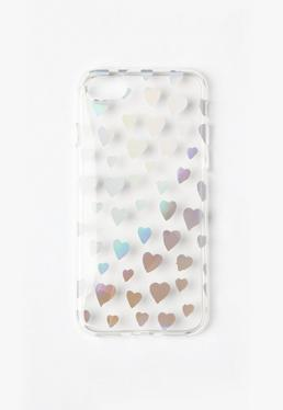 Silver Holographic Heart I Phone 7 Case