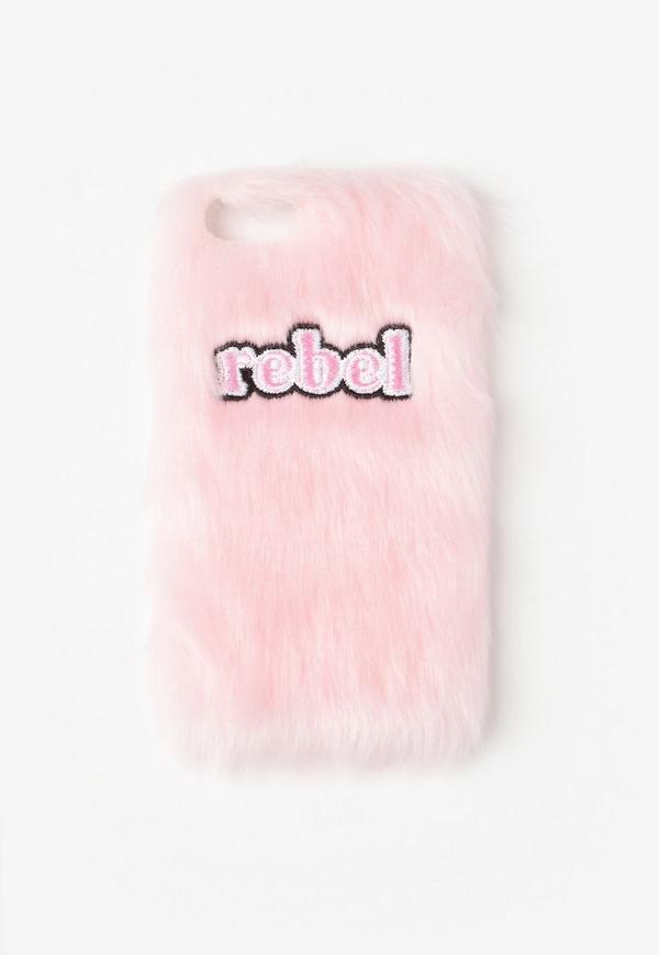 Pink Rebel Faux Fur iPhone 7 Case