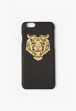 iPhone 6 Case mit goldmetallischem Tigermotiv in Schwarz