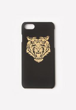 Czarna obudowa na iPhone 7 ze złotym tygrysem