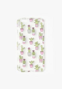 Przezroczysta obudowa na iPhone 6 w zielone kaktusy