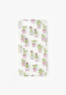 Przezroczysta obudowa na iPhone 7 w zielone kaktusy