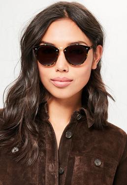 Brown Pin Detail Metal Bar Sunglasses