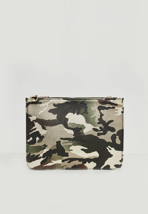 Brown Metallic Camo Clutch Bag