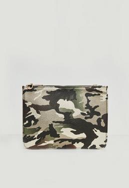 Pochette marron à motif camouflage