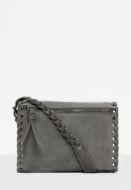 Grey Whipstitch Edge Cross Body Bag