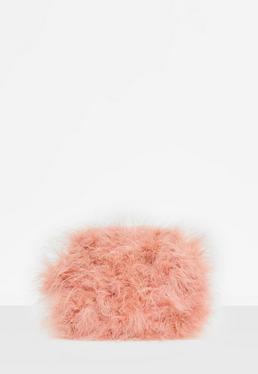Pochette rose à plumes