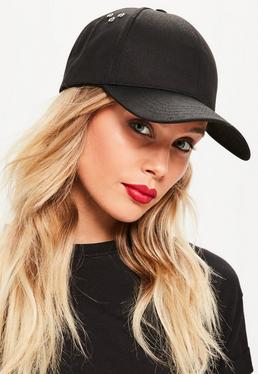Black Eyelet Detail Cap