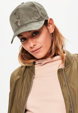Satynowa czapka z daszkiem w moro w kolorze khaki