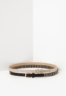 Pack de 2 Cinturones con Tachuelas en Nude & Negro