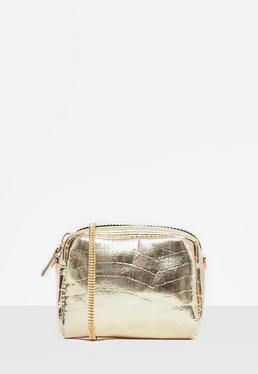 Gold Metallic Mini Cross Body Bag