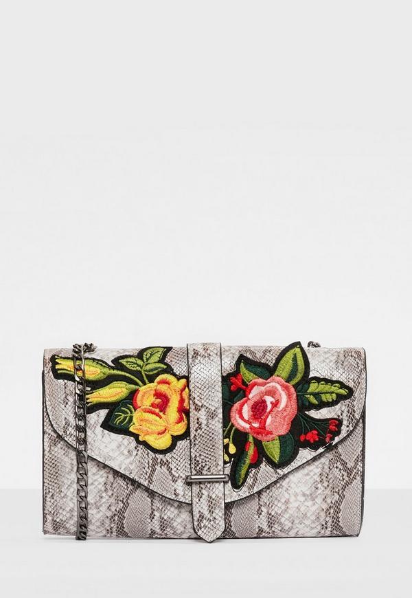 Grey Snake Print Embroidered Cross Body Bag