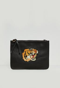 Black Faux Leather Tiger Badge Clutch Bag