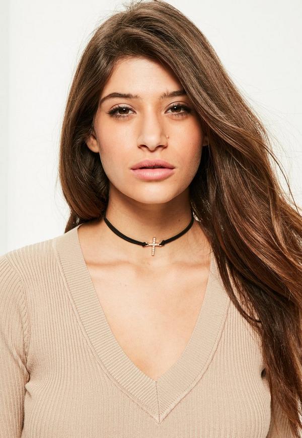 Black Diamante Cross Charm Choker Necklace